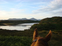 Through the Horses Ears Beacon Tarn Royalty Free Stock Images