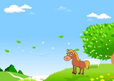 Horses in the Field. Art for Designer. Green Fields and Distant Hills for Your Creative Needs stock illustration