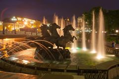 Horses fountain in Moscow Night. Stock Photos