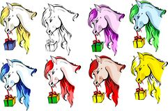 Horses with a gift. Small  funny cartoon horse with a gift Royalty Free Stock Photography