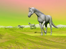 Horses in green landscape - 3D render Stock Photos