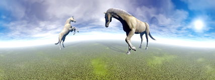 Horses in green landscape - 3D render Stock Image