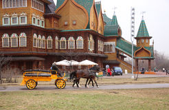 ,Horses harnessed to a carriage for a stroll around the park Stock Photography