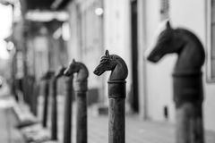 Horses head design in Bourbon Street in the French Quarter. Horses head design on railings in Bourbon Street in the French Quarter of New Orleans royalty free stock photos