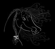 The horses head with a fluffy mane painted graceful lines with. Swirls on black background royalty free illustration