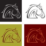 A horses head. A set of multi-colored horses head. Vector illustration Stock Images