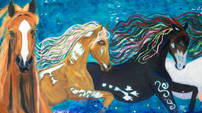 Horses oil painting. An original oil painting of the 3 horses on blue background. This painting was done by Felicity Thompson, a local artist in Australia Royalty Free Stock Photography