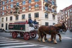 Beer transport by horses. Vesterbro area. Copenhagen. Denmark stock photos