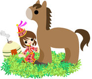 Horses and People ~At a Mongolian steppe~. The Mongolian girl who walks the steppe with a horse Stock Image