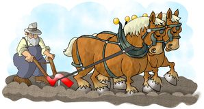 Horses and Plow. This illustration that I created depicts a farmer plowing a field.  The plow is being pulled by two large horses Stock Photos