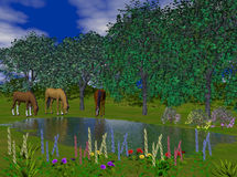 Horses at Pond. Three horses take a drink of cool water at a pond surrounded by flowers. Computer Generated Image, 3D models Stock Photos