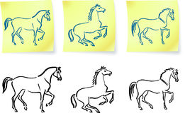 Horses on post it notes Stock Photography
