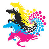 Horses With Print Color Circle Stock Image