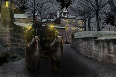 Horses pulling coach Royalty Free Stock Images