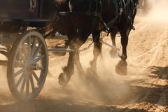 Horses Pulling Wagon. Draft horses pulling a wagon through a dusty field Stock Images