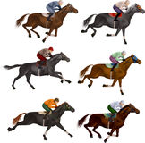 Horses. At the races, with different colors, riders Stock Images