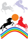 Horses and rainbow Royalty Free Stock Image