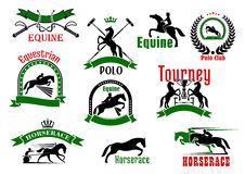 Horses with riders icons for equestrian design Stock Images