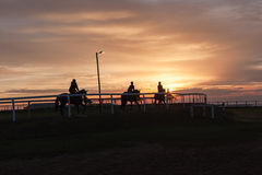 Horses Riders Silhouetted Landscape Royalty Free Stock Images
