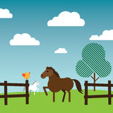 Horses roaming around in a fenced farm. An illustration of a brown horse standing at the gate of a fenced farm facing an orange bird sitting on a post with a Stock Photos