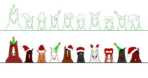Horses in a row. Christmas Horses upper body in a row vector illustration