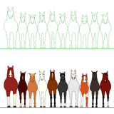 Horses in a row. Cute Horses in a row on a line vector illustration