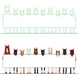Horses in a row with a white board. Cute Horses in a row on a line with a message board vector illustration