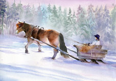 Horses running in winter. Beautiful horse in the snow, painted in watercolor Stock Photos