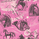 Horses Seamless Pattern. Vector seamless pattern design with old etching horses and calligraphic ornaments Royalty Free Stock Image