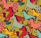 Horses seamless pattern color Stock Photography