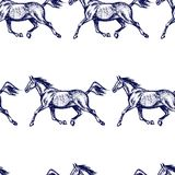Horses seamless pattern. Vector seamless pattern with hand drawn running thoroughbred horses. Beautiful design elements, charcoal drawing Royalty Free Stock Photography