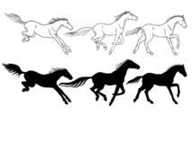 Horses. Set of linear and silhouette horses. Three galloping horses. stock illustration