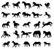 Horses silhouettes set Stock Photo