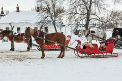 Horses with sledge in Suzdal, Russia Royalty Free Stock Photography