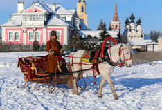 Horses with sledge in Suzdal, Russia. Horses with sledge for carrying out of trips across Suzdal Stock Photo