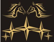 Horses and stars. Golden horses and stars on black background -  illustration Stock Photography
