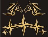 Horses and stars. Golden horses and stars on black background - illustration stock illustration