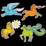 Horses stickers. A series of toy horses stickers, hand drawn doodle illustrations of four happy baby animals, cartoons isolated on black Royalty Free Stock Photos