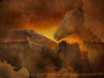 Horses in the sunset. Illustration - horses in the sunset, Encounters at sunset royalty free illustration