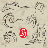 Horses symbols  collection. Chinese zodiac 2014. Chinese zodiac 2014. Horses symbols  collection. Vector white isolated Royalty Free Stock Photography