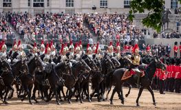 Horses taking part in the Trooping the Colour military parade, London UK. Horses taking part in the Trooping the Colour military parade in honour of the Queen`s royalty free stock photos