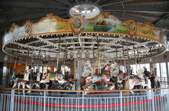 Horses on a traditional fairground B&B carousel at historic Coney Island Boardwalk Royalty Free Stock Photos