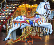Horses on a traditional fairground carousel in Avignon, France. AVIGNON, FRANCE - OCTOBER 11: Horses on a traditional fairground carousel in Avignon on October 9 Stock Images