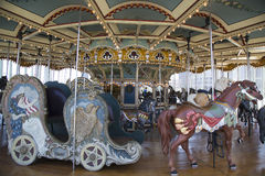 Horses on a traditional fairground Jane's carousel in Brooklyn. BROOKLYN -  April 24:Horses on a traditional fairground Jane's carousel in Brooklyn on April 24 Royalty Free Stock Photos