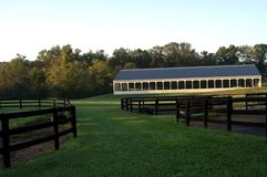Horses Training Area in Middle Tennessee. Equestrian Horse ranches are very poplar in Middle Tennessee. The term Equestrian refers to the skill of riding stock photo