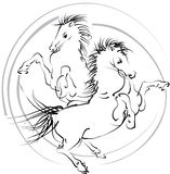 Horses (vector). Black and white horses jumping in the ring of fire. Scalable vector *.EPS format is included Stock Image