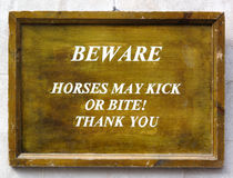 Horses Warning Sign Royalty Free Stock Photography