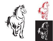 Horses on white or black Stock Photos