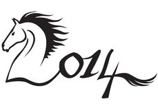 2014 Horses year. Horse symbol 2014 new year Stock Images