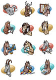 Horsescope. Cartoon-style humorous illustration of the twelve signs of horoscope  as horses Stock Photography